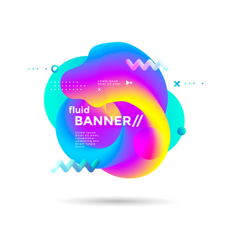 Creative design fluid banner with gradients shapes Ilustracja