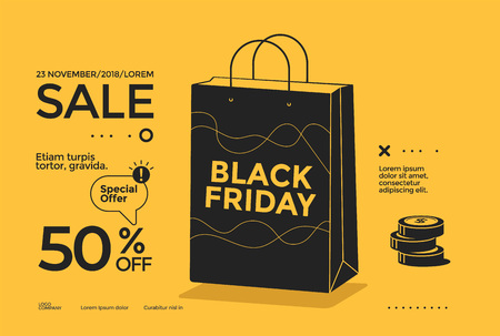 Black Friday sale poster design flat Stock fotó - 125021756