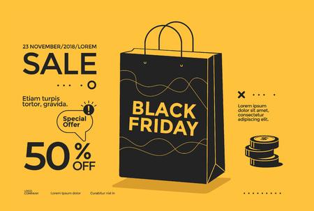 Black Friday sale poster design flat