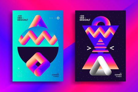 Retro futuristic poster design with gradient art