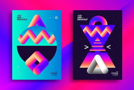 Retro futuristic poster design with gradient art