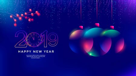 New Year greeting card design with stylized christmas ball.