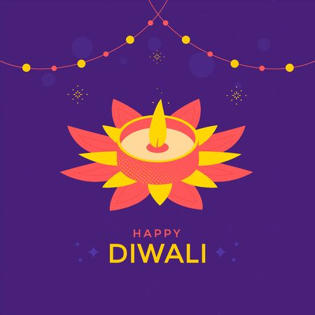 Happy Diwali festival greeting card with candle Ilustracja