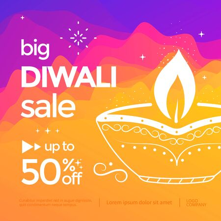 Diwali Sale banner with stylized oil lamp