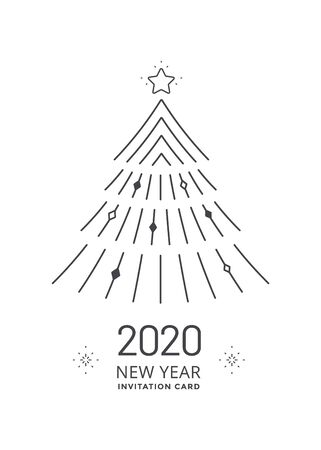 New Year card with stylized Christmas tree Ilustração