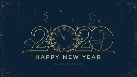 Feliz año nuevo 2020 diseño de tarjeta de felicitación con reloj dorado estilizado y decoración sobre fondo oscuro. Ilustración de línea dorada de feliz Navidad.