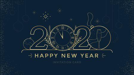 Gelukkig nieuwjaar 2020-wenskaartontwerp met gestileerde gouden klok en decoratie op donkere achtergrond. Merry Christmas gouden lijn illustratie.