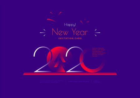 Happy New Year 2020 greeting card in duotone Stock Vector - 134940085