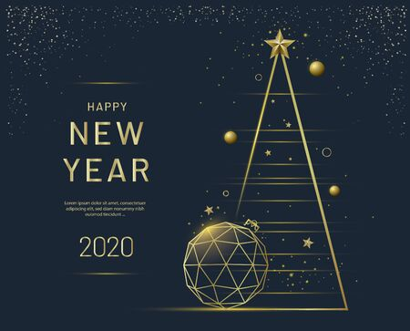 New Year greeting card design with Christmas tree