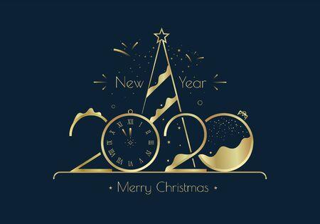 Feliz año nuevo 2020 plantilla de diseño de tarjeta de felicitación