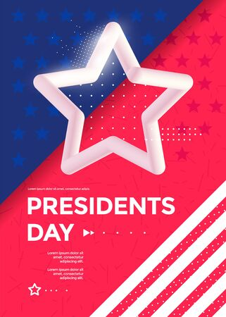 Happy Presidents Day poster design with 3d star.