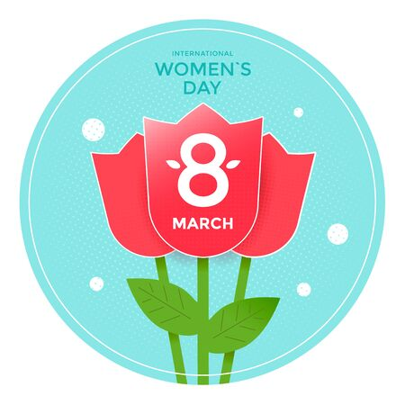 8 March poster template. International womens day greeting card with red tulips. 向量圖像