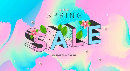 Spring Sale banner with pastel colors and flower  イラスト・ベクター素材