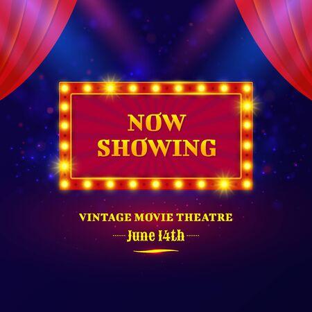 Theater or cinema sign design. Illustration