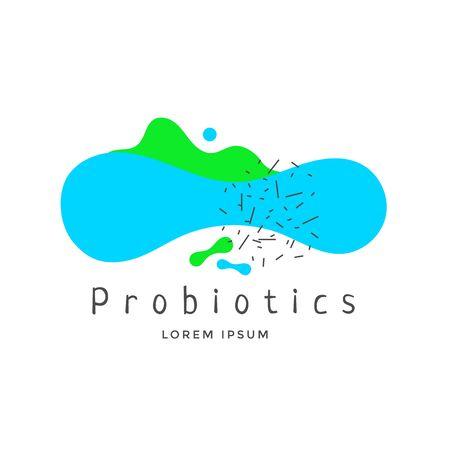 Probiotics Bacteria emblem or logo design