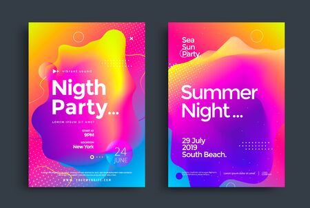 Summer Night Party poster with colorful liquid form. Abstract gradient club dj flyer design template. Electronic music fest.