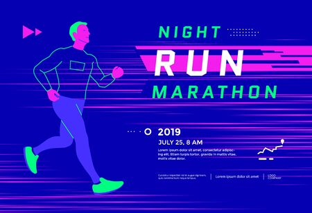 Run championship banner or poster design template