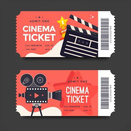 Two red cinema tickets with flat movie camera Illusztráció