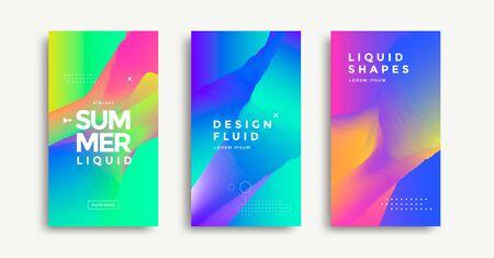 Liquid colorful geometric shapes cover set design Illusztráció