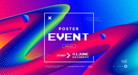 Modern design Event poster with 3d flow shape Illusztráció