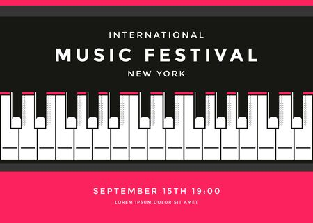 Music festival poster design with piano keys