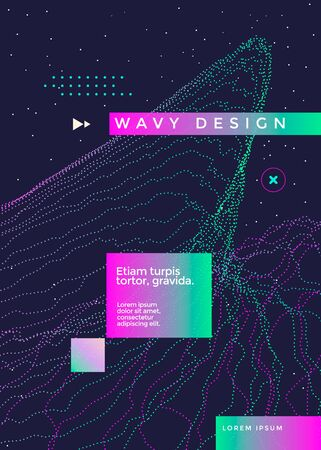 Wavy geometric poster design. Cover with dotted gradient shape.