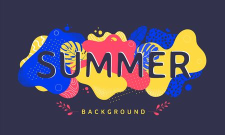 Summer banner design with abstract geometric shapes.