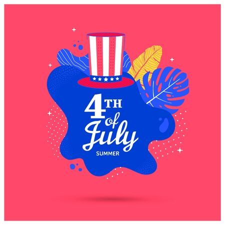 Fourth of July holiday banner with hat and fluid shape Illusztráció
