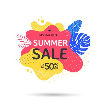 Summer sale banner design with abstract geometric shapes and palm leaves.