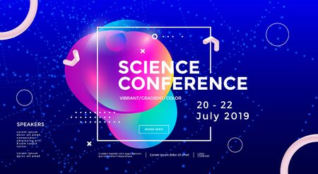 Science conference wide poster design template Illusztráció