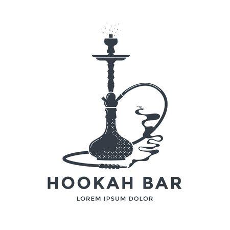 Hookah    emblem design. Shisha lounge bar