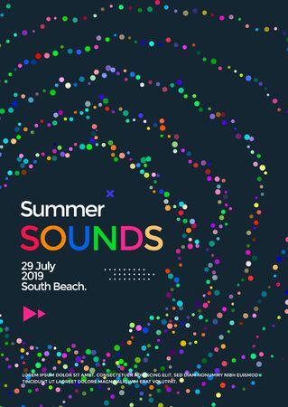 Music wave poster design. Summer Sounds flyer Illusztráció