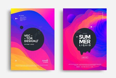 Summer wavy geometric poster design. Fluid banner