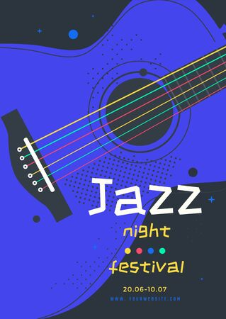 Jazz music festival poster design template with guitar