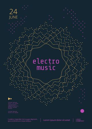 Electronic Music poster design. Sound flyer with geometric dotted mandala shape. Vector template
