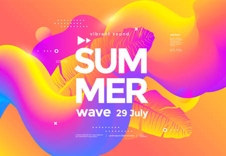 Electronic music fest summer wave party poster