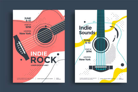 Indie Rock Poster design template with the stylized acoustic guitar. Music festival pop punk flyer design in minimalist style.
