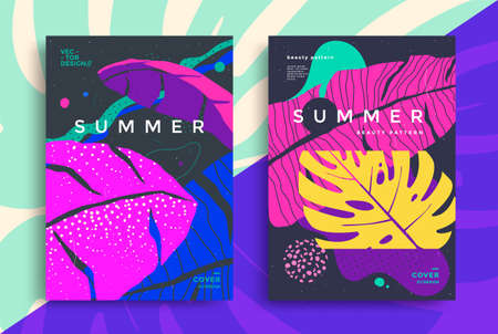 Summer tropical poster design. Flyer with colorful stylized leaves palm. Fashion cover with organic liquid form and texture. Illusztráció