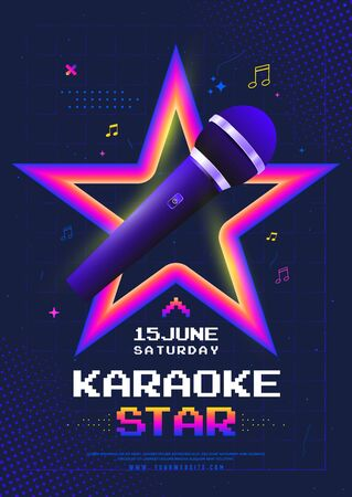 Karaoke Star night poster template design with microphone. Vector illustration