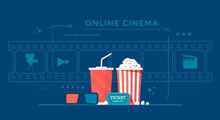 Online cinema banner concept with popcorn, film-strip and 3d glasses. Movie streaming illustration for landing page, web, poster. Illusztráció