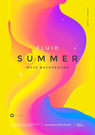Colorful 3d flow shape. Liquid wave modern flyer. Fluid summer background. Vector graphic