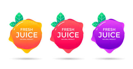 Fresh Juice fruit label or icon. Sticker design for orange, grape, berry natural drink.