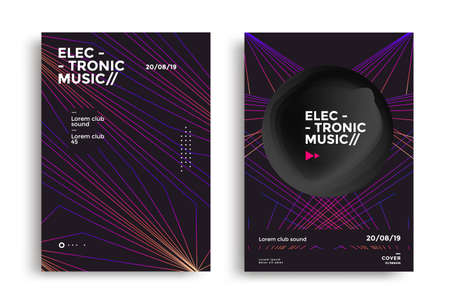 Electronic music fest and electro night poster with geometric line and shape. Minimal club party flyer.