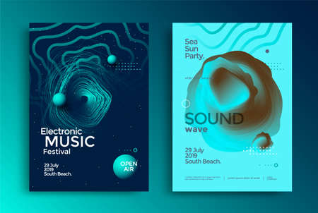 Electronic music festival poster with abstract gradient lines. Flyer with Sound wave shape. Vector background in duotone color.