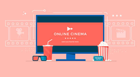 Online cinema banner concept with TV, popcorn and 3d glasses. Movie streaming illustration for landing page, web, homepage, poster.