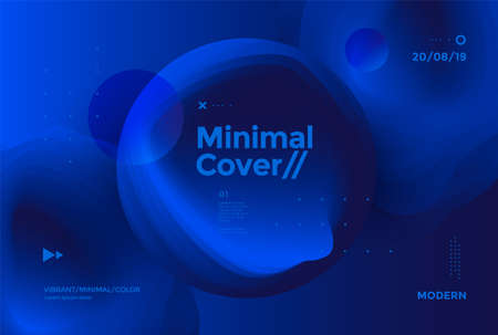 Deep Blue abstract minimal cover design with fluid shapes. Vector modern background for poster, flyer, website.