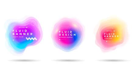 Set of abstract colorful liquid shapes. Fluid gradients banner design. Isolated dynamical art form. Illusztráció