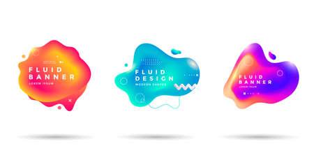 Set of abstract liquid shape. Fluid banner Illusztráció