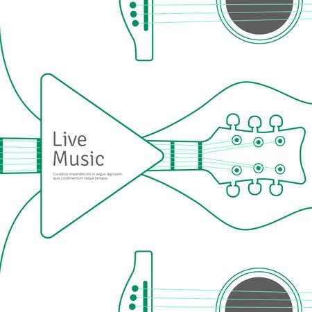 Music banner with line guitar Musical illustration Illusztráció