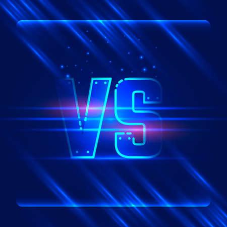 Versus screen design. Blue neon VS letters